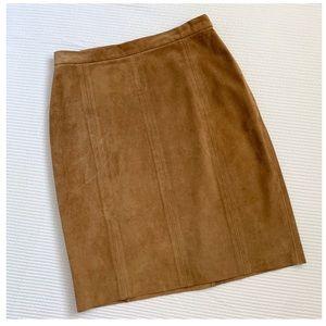 Ralph Lauren Blue Label Brown Suede Pencil Skirt